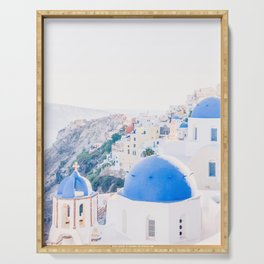 214. Santorini's View, Oia, Greece Serving Tray