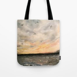 Birds on the ocean Tote Bag