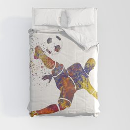 Soccer player in watercolor 12 Comforters