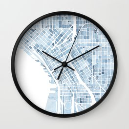 Map Seattle Washington Blueprint watercolor map Wall Clock