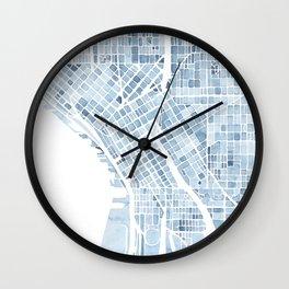 Map Seattle Washington Blueprint watercolor map Wall Clock