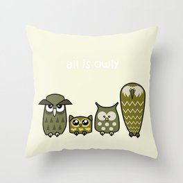 All is Owly (gold) Throw Pillow