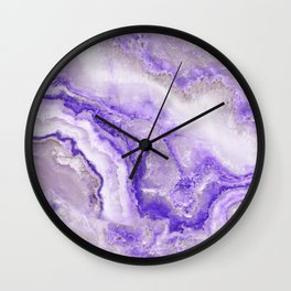 Ultra Violet and Gray Marble Agate Quartz Wall Clock