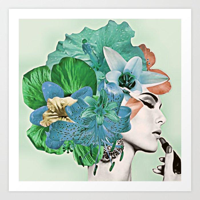 Green Flower Kunstdrucke