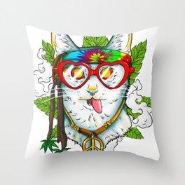 Marijuana Hippie Kitty Throw Pillow