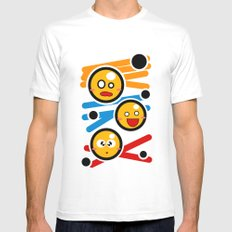 happy smiley trio White MEDIUM Mens Fitted Tee