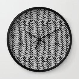 Hand Knit Grey Black Wall Clock