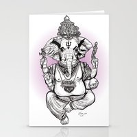ganesha Stationery Cards featuring Ganesha by emspressionism