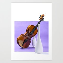Still life with violin and white vases on a purple Art Print