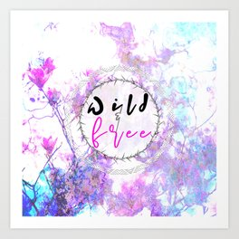 Pastel Marble Floral Wild and Free Art Print