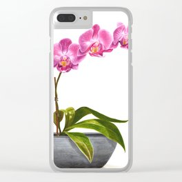 Watercolor Orchid Clear iPhone Case