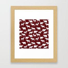 Plaid camping animals minimal bear moose deer nursery decor gender neutral woodland Framed Art Print