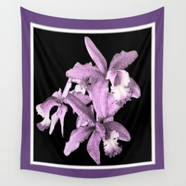 Black-Puce Lilac Cattleleya Orchids Drawing Wall Tapestry