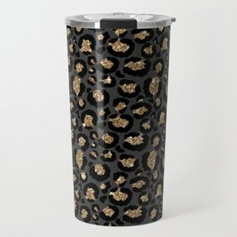 Black Gold Leopard Print Pattern Travel Mug