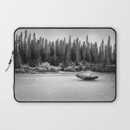 Beautiful pine forest view at Natural Pool in black and white. Laptop Sleeve