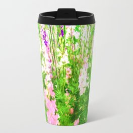 Larkspur Flowers in Soft oil Style Travel Mug
