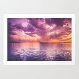Beautiful purple sunset at Cebu City, Philippines Art Print