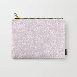Floral Outlines - White/Blush Carry-All Pouch
