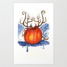 Deer Pumpkin Art Print