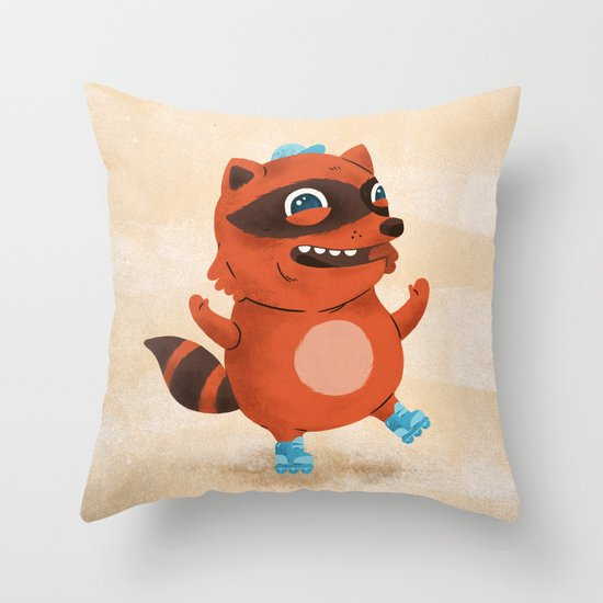 Rollerblade Raccoon Throw Pillow