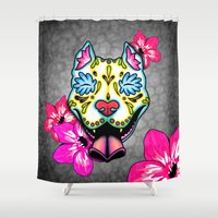 pit bull Shower Curtains featuring Slobbering Pit Bull Day of the Dead Sugar Skull Dog by Pretty In Ink