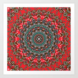Mandala Christmas Pug Art Print