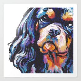 black and tan Cavalier King Charles Spaniel Dog Portrait Pop Art painting by Lea Art Print