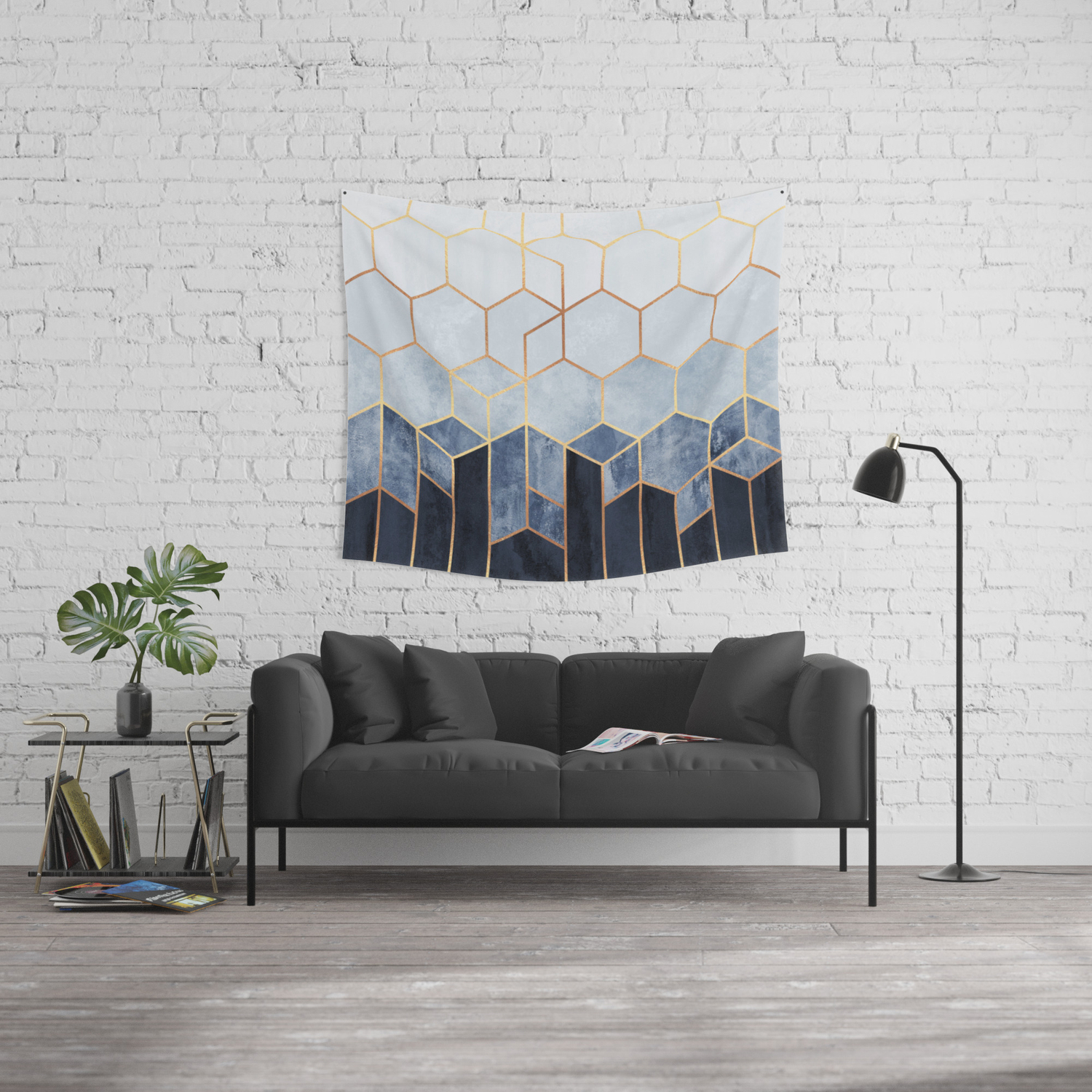Soft Blue Hexagons Wall Tapestry By Elisabethfredriksson Society6