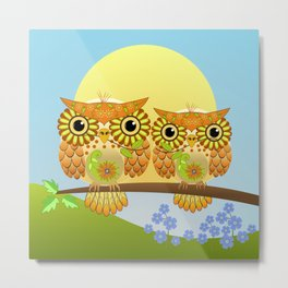 Spring owls on a sunny day Metal Print
