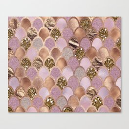 Magenta mermaid scales - turkish delight rose gold Canvas Print