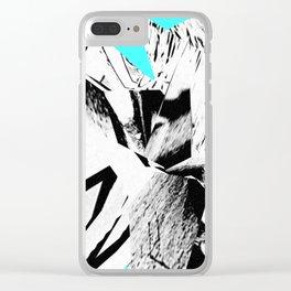 Glitch Scrunch Teal Clear iPhone Case