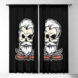 Vintage Barber Skull Blackout Curtain