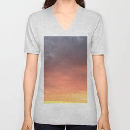 Yellow Red and Gray Sky Unisex V-Neck