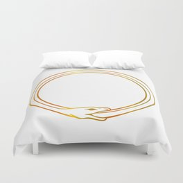 The symbol of Ouroboros snake in gold colors Duvet Cover