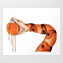 Copperhead Biting Peach Art Print