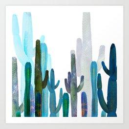 blue long cactus Art Print
