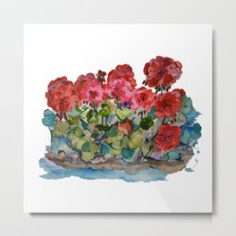 Red Geraniums painting Metal Print