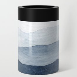 Indigo Abstract Watercolor Mountains Can Cooler