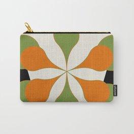 Mid-Century Modern Art 1.4 - Green & Orange Flower Carry-All Pouch
