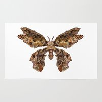 moth Area & Throw Rugs featuring moth by Marie Lisborg