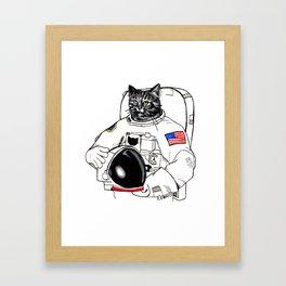 Astronomically Curious Cat Framed Art Print