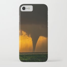 Silhouette - Large Tornado at Sunset in Kansas iPhone Case