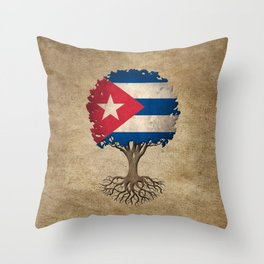 Vintage Tree of Life with Flag of Cuba Throw Pillow