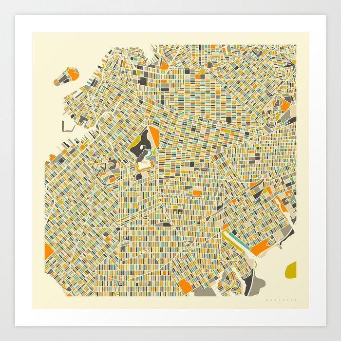 Map Of New York Brooklyn.Brooklyn Map Art Print By Jazzberryblue