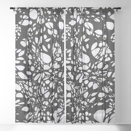 WEB black abstract lines on white background Sheer Curtain