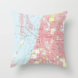 Vintage Map of Clearwater Florida (1974) Throw Pillow