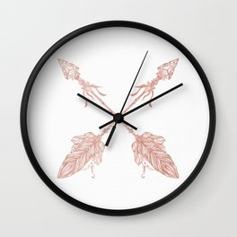 Tribal Arrows Rose Gold on White Wall Clock