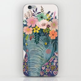 Elephant with flowers on head iPhone Skin