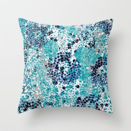 sparkling dots in teal and blueberry Throw Pillow