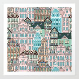 City Houses in Pastel Colours Art Print